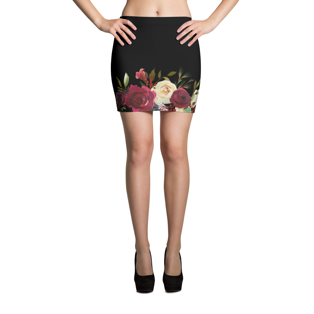WOW | P Collection Black Floral Mini Skirt