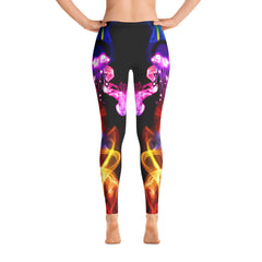 WOW | P Collection Colorful Fire Design Black Tone Leggings