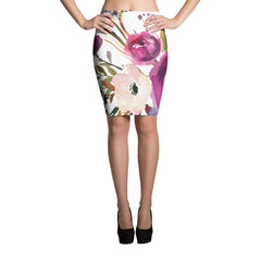 WOW | P Collection White Floral Pencil Skirt