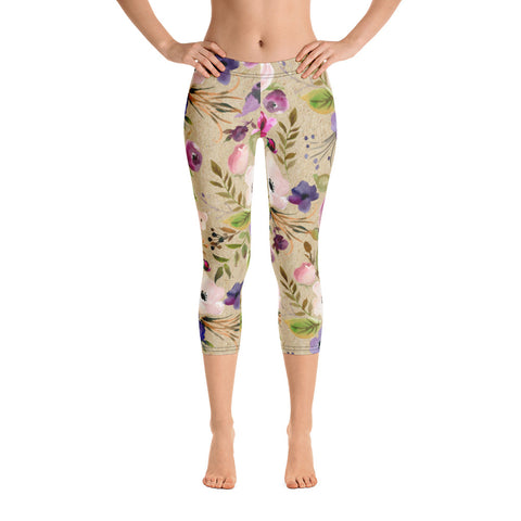 WOW | P Collection Colorful Floral on Beige Cream Capri Leggings