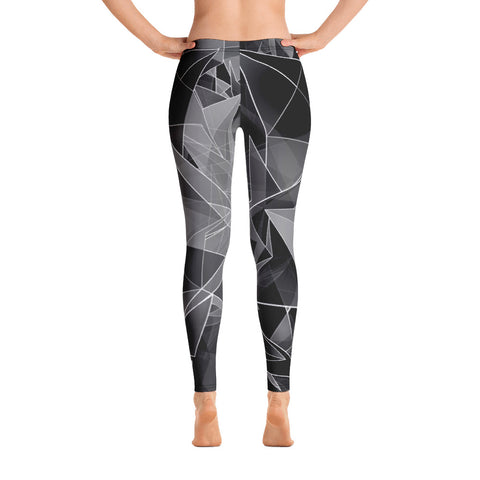 WOW | P Collection Floral Black and White Geometric Design Leggings