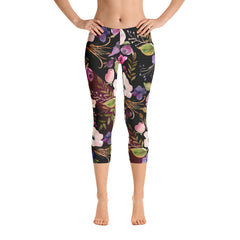 WOW | P Collection Colorful Floral on Black Capri Leggings