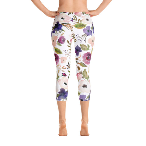 WOW | P Collection Colorful Floral White Capri Leggings
