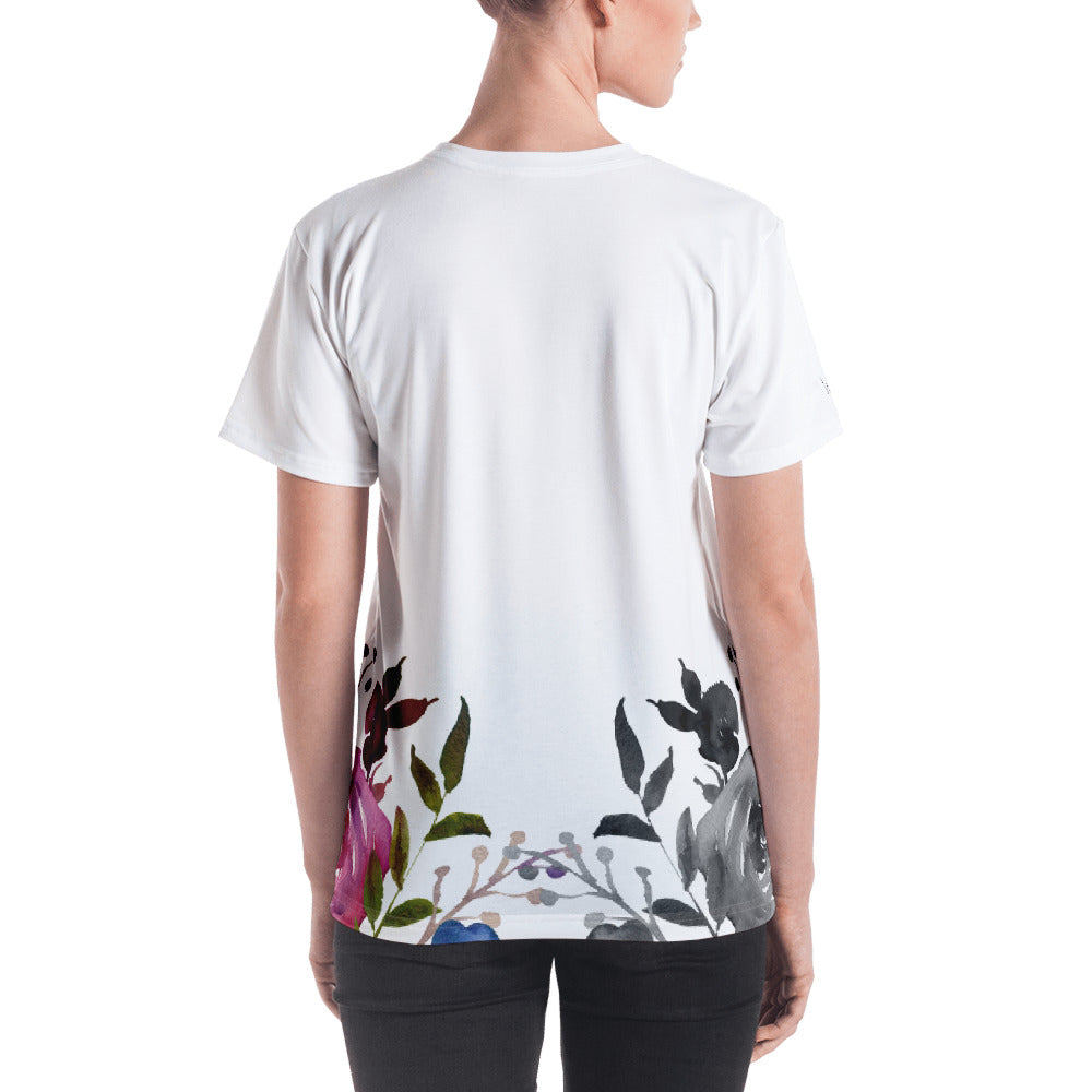 WOW | P Collection Women's B&W Colorful Floral T-shirt