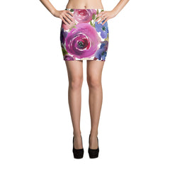 WOW | P Collection Black & White & Colorful Floral Mini Skirt