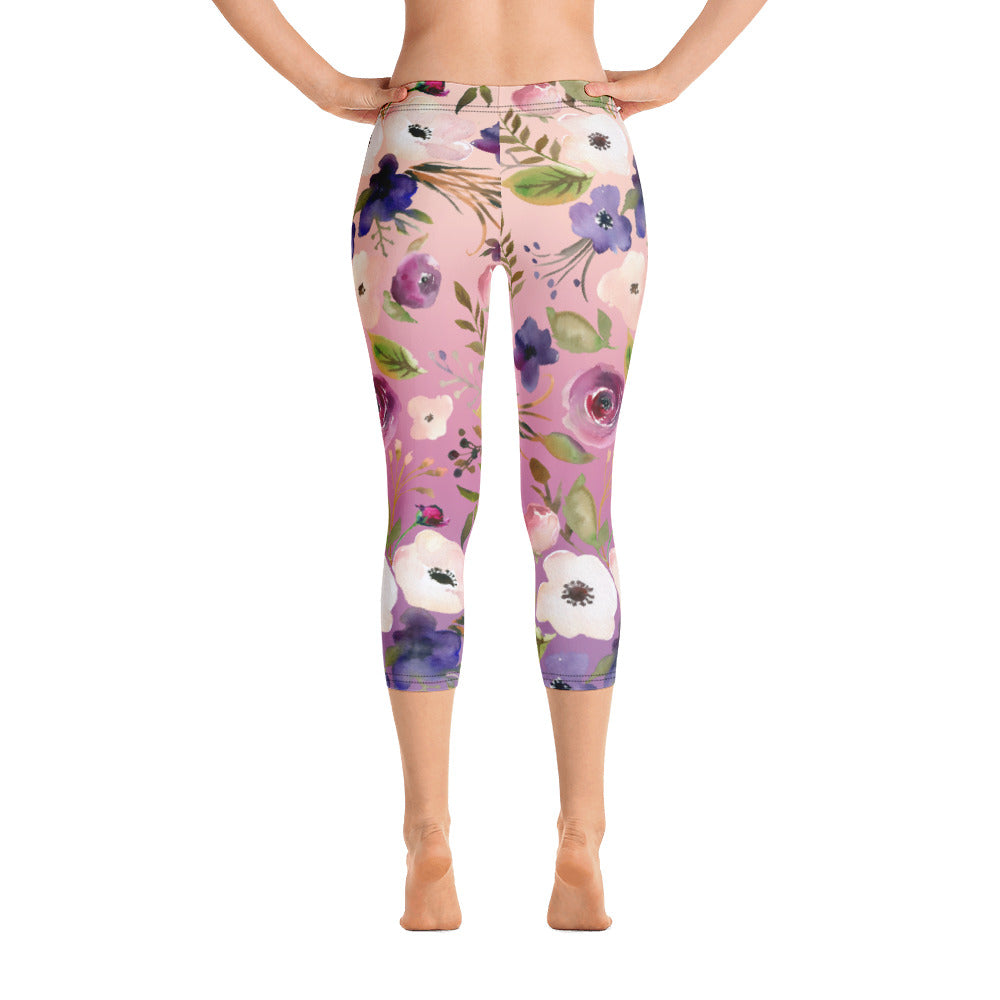 WOW | P Collection Colorful Floral Pink Tone Capri Leggings