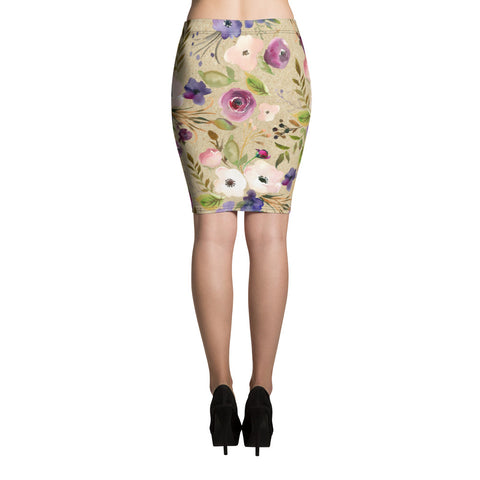 WOW | P Collection Beige Floral Pencil Skirt