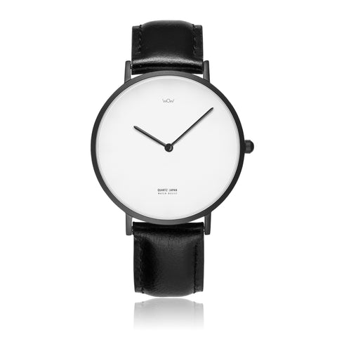 WOW | J Collection Black On Black Leather Strap Water-resistance Quartz Watch