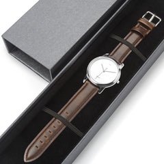 WOW | J Collection Premium Silver Brown Leather Strap Water-resistant Quartz Watch