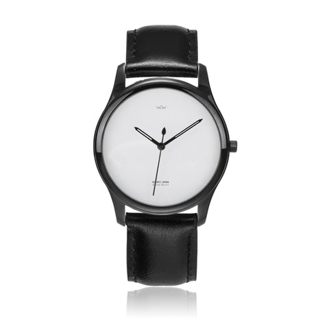WOW | J Collection Premium Black On Black Leather Water-resistant Quartz Watch