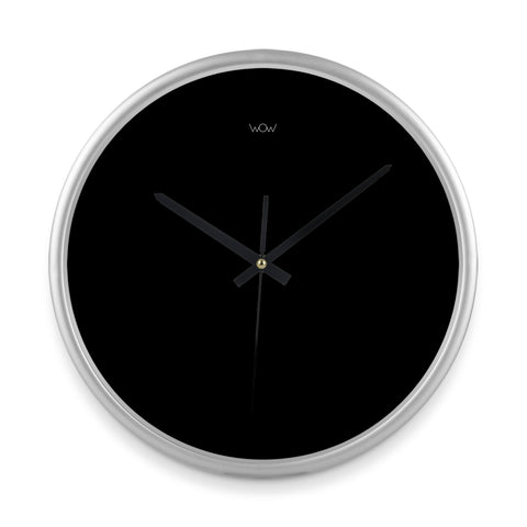 WOW | J Collection 14in Silver Framed Sweep Movement Mute Marble Wall Black Clock