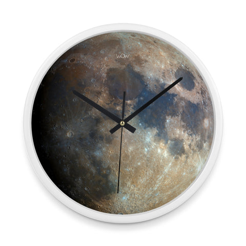 WOW | J Collection 14in White Framed Sweep Movement Mute Moon Closeup Wall Clock