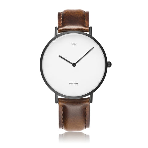 WOW | J Collection Black On Brown Leather Strap Water-resistance Quartz