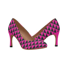 WOW | i Collection Women's Pumps High Heels B&W Pink Triangular Pattern Shoes