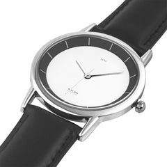 WOW | J Collection B&W Double-layer Concise Dial Water-resistance Quartz Watch