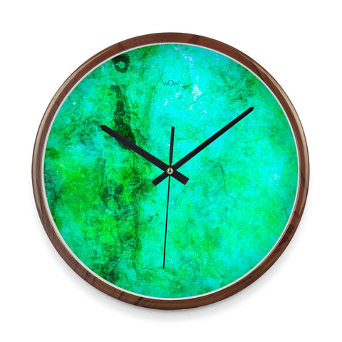 WOW | J Collection Wood Graining 14 Inch Aquamarine Framed Sweep Movement Mute Wall Clock