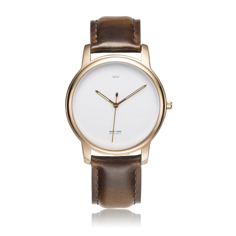 WOW | J Collection Premium Rose Gold Brown Leather Strap Water-resistant Quartz Watch