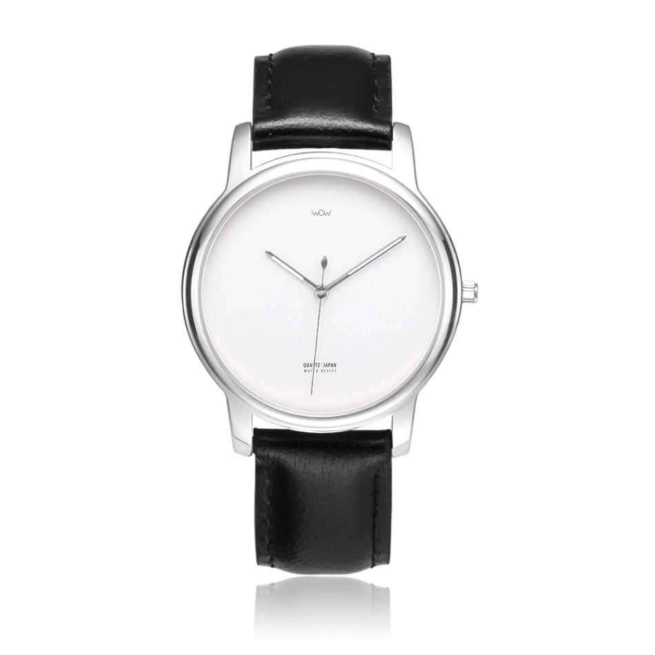 WOW | J Collection Premium Silver Black Leather Strap Water-resistant Quartz Watch