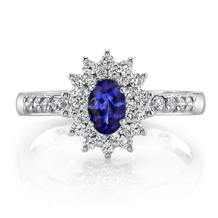 14K 0.60 Cts Tanzanite 0.57 Cttw VS Diamond Ring - TVON