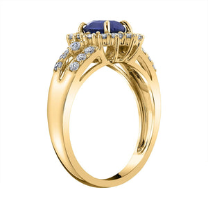 14K 1.51 Cts Blue Sapphire 0.71 Cttw VS Diamond Ring - TVON.com