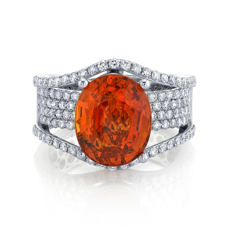 14K 7.08 Cts Mandarin Garnet 1.15 Cttw VS Diamond Ring - TVON.com