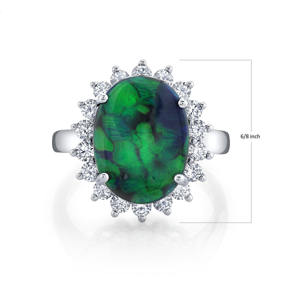 14K 3.79 Cts Black Opal 0.84 Cttw VS Diamond Ring - TVON.com