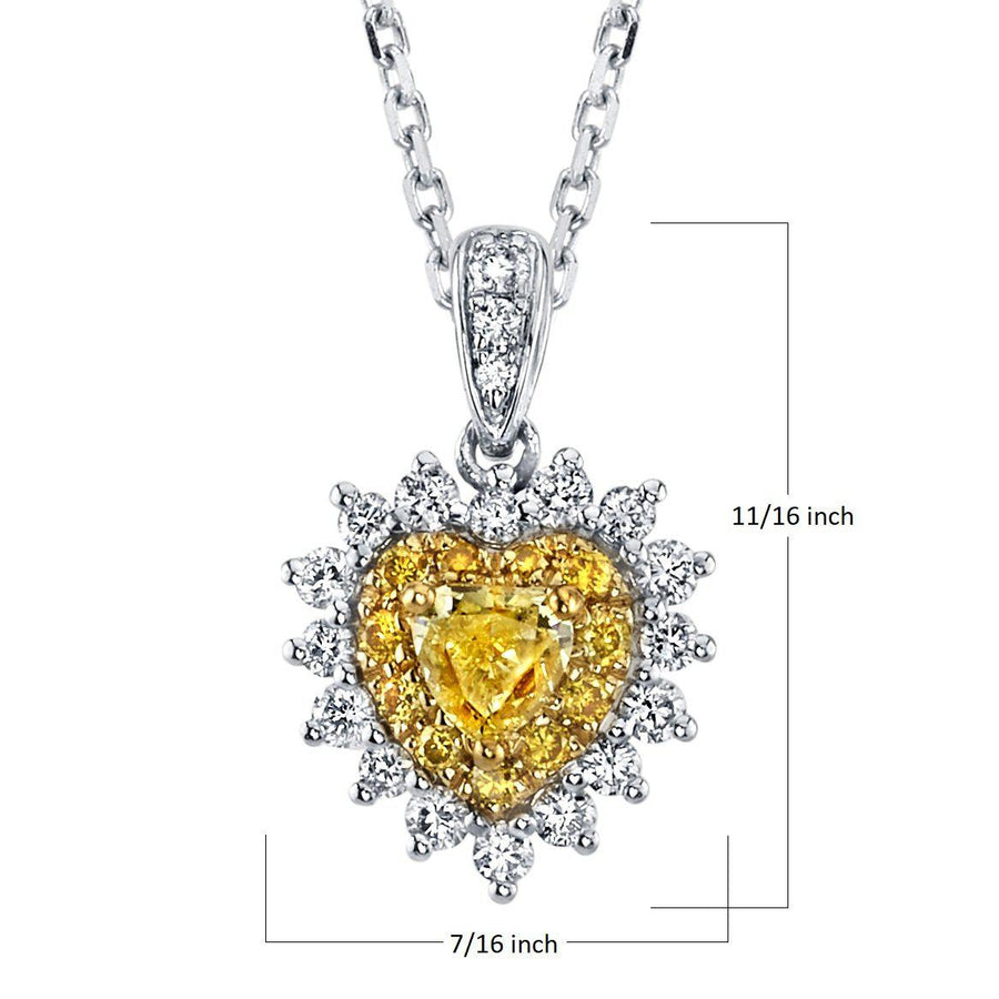 14K 0.25 Cts Yellow Diamond 0.37 Cttw VS Diamond Pendant