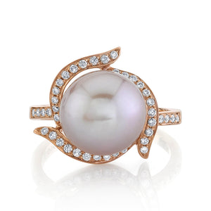 14K 10mm Freshwater Pink Pearl 0.23 Cttw VS Diamond Ring