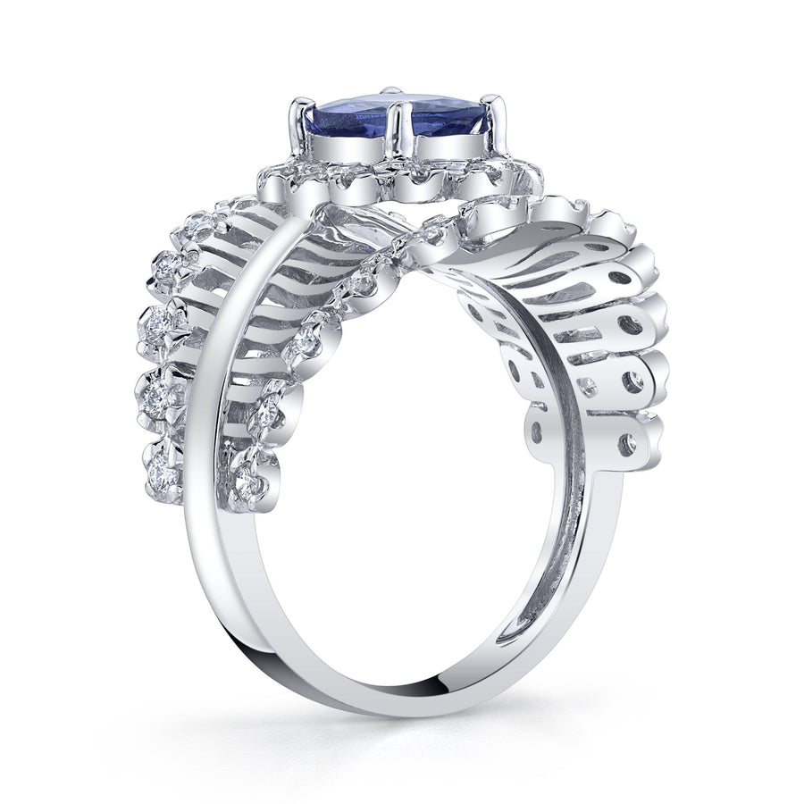 14K 1.00 Ct Tanzanite 0.45 Cttw VS Diamond Ring - TVON.com