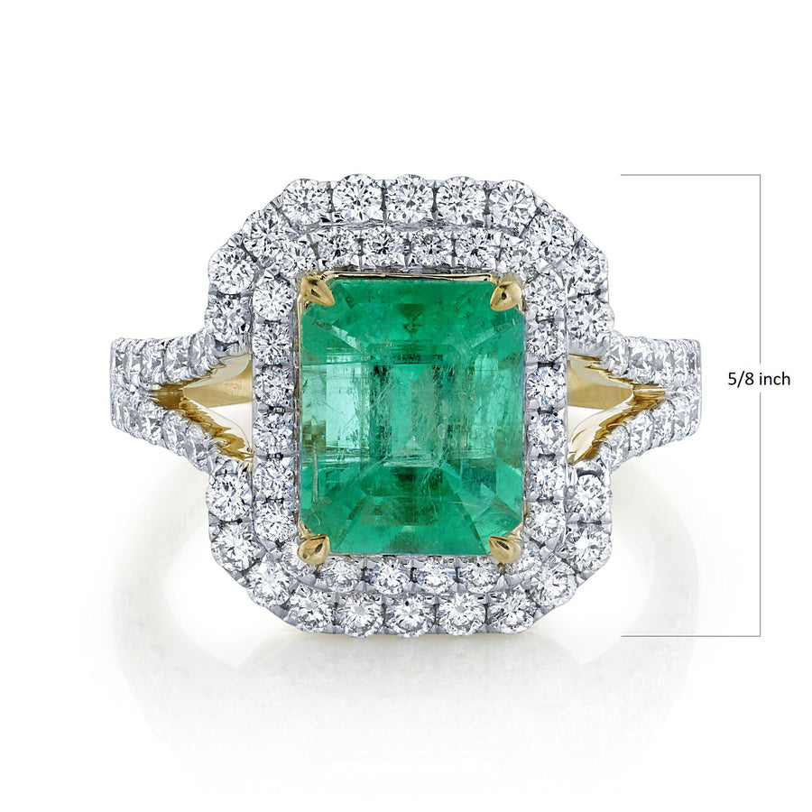 14K 2.60 Cts Colombian Emerald 1.03 Cttw VS Diamond Ring - TVON.com