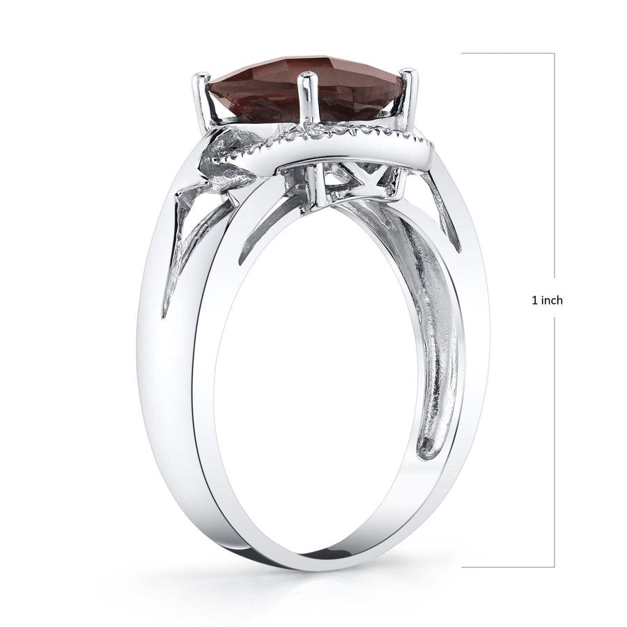 14K 2.34 Cts Garnet 0.13 Cttw VS Diamond Ring - TVON.com
