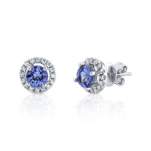 14K 1.00 Ct Tanzanite 0.23 Cttw VS Diamond Earrings - TVON.com