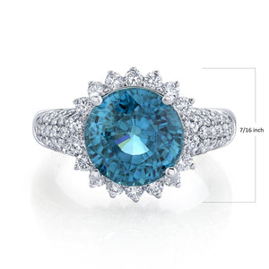 14K 10.93 Cts Blue Zircon 1.03 Cttw VS Diamond Ring - TVON.com