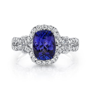 14K 1.80 Cts Tanzanite 0.77 Cttw VS Diamond Ring - TVON.com