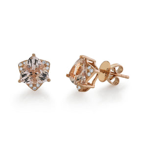 14K 1.98 Cts Morganite 0.08 Cttw VS Diamond Earrings - TVON.com
