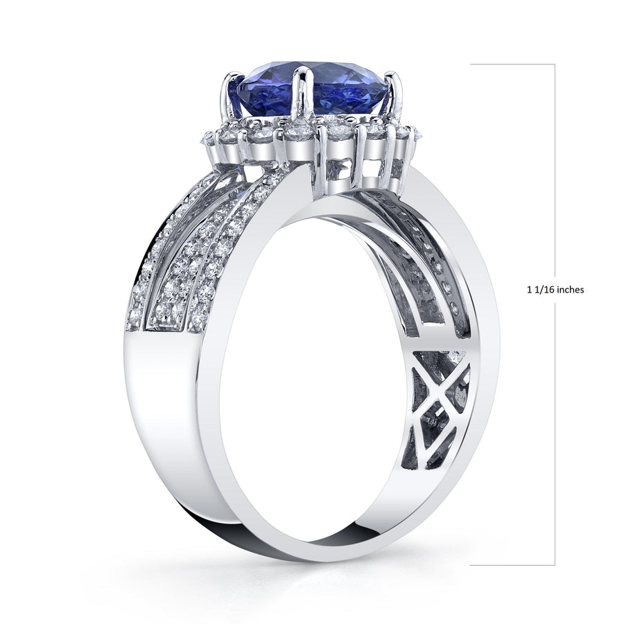 14K 2.62 Cts Tanzanite 0.90 Cttw VS Diamond Ring - TVON.com