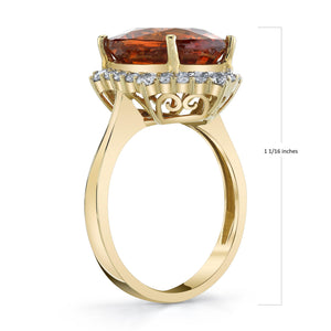 14K 8.28 Cts Mandarin Garnet 0.46 Cttw VS Diamond Ring - TVON.com
