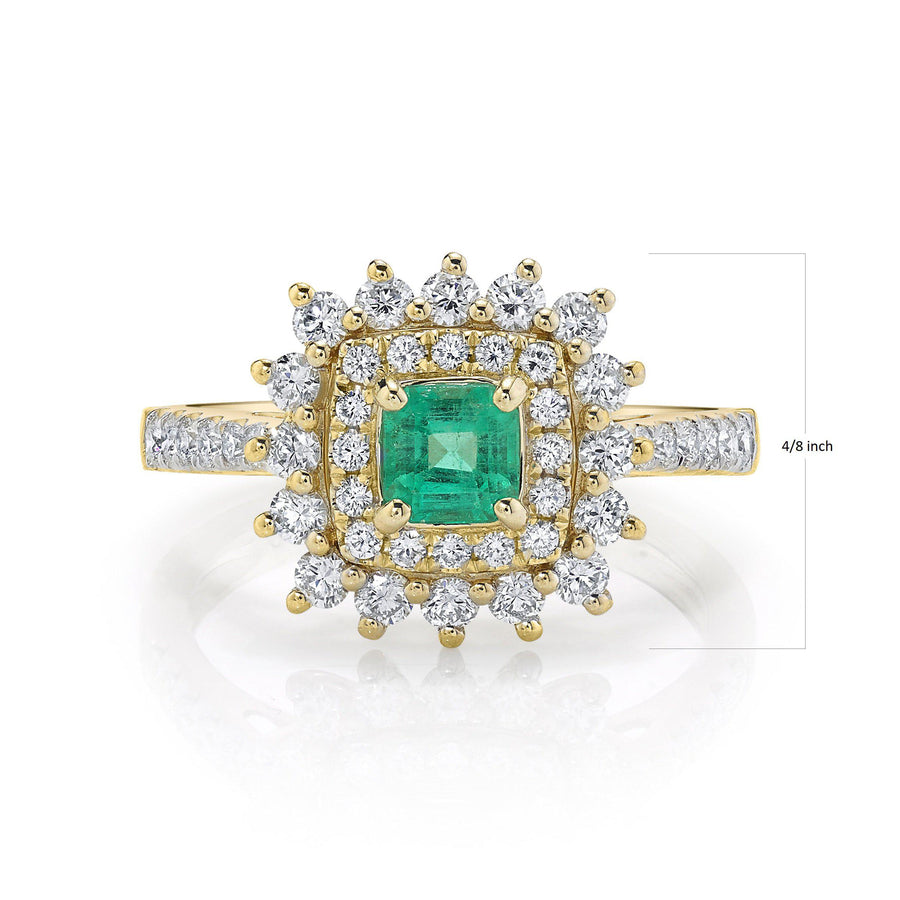 14K 0.35 Cts Columbian Emerald .79 cttw VS Diamond Ring - TVON.com