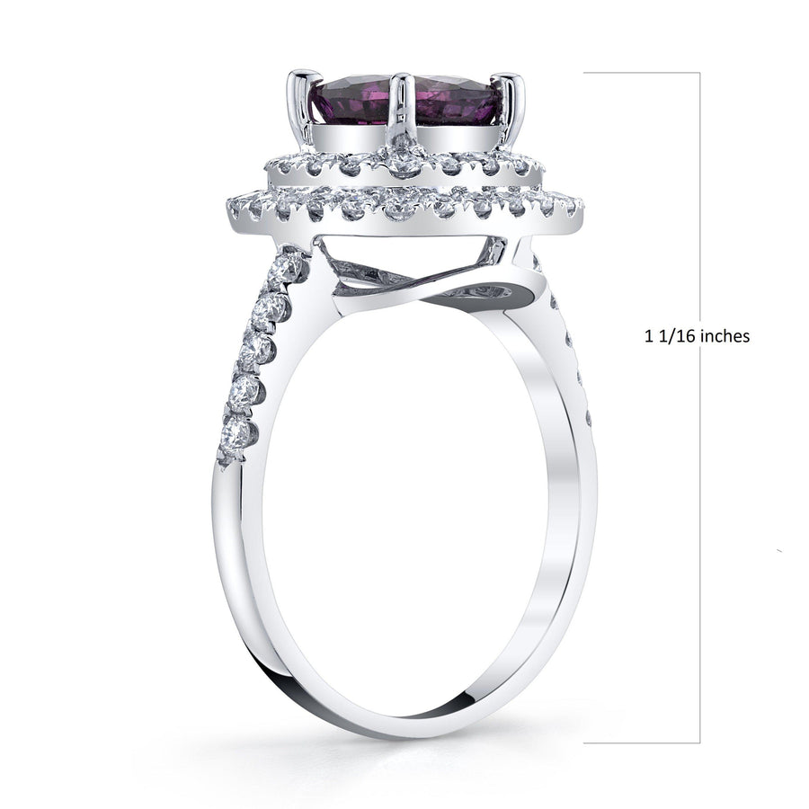 18K 1.98 Cts Unheated Kashmir Sapphire 0.69 Cttw VS Diamond Ring - TVON.com