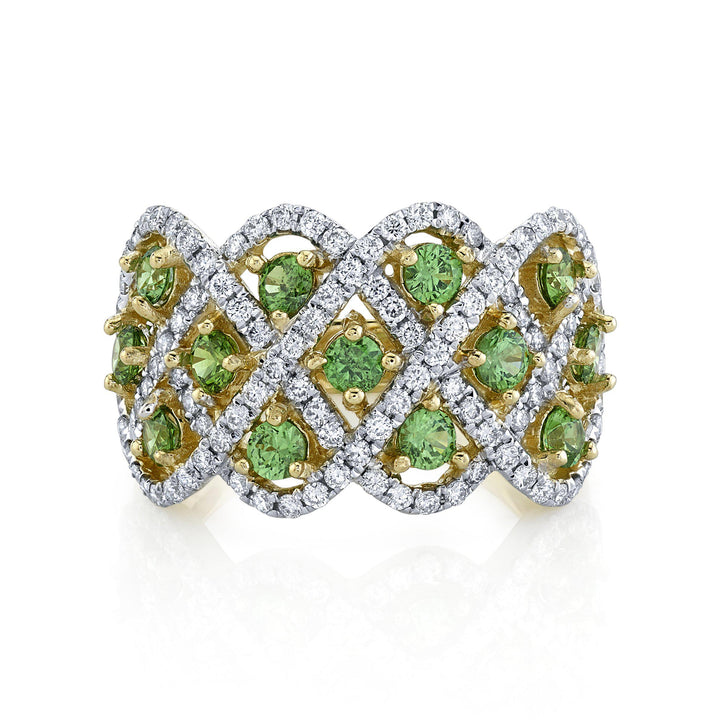 14K 1.08 Cts Russian Demantoid 0.81 Cttw VS Diamond Ring - TVON
