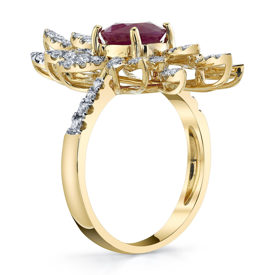 14K 2.02 Cts Burma Ruby 0.87 Cttw VS Diamond Ring - TVON.com
