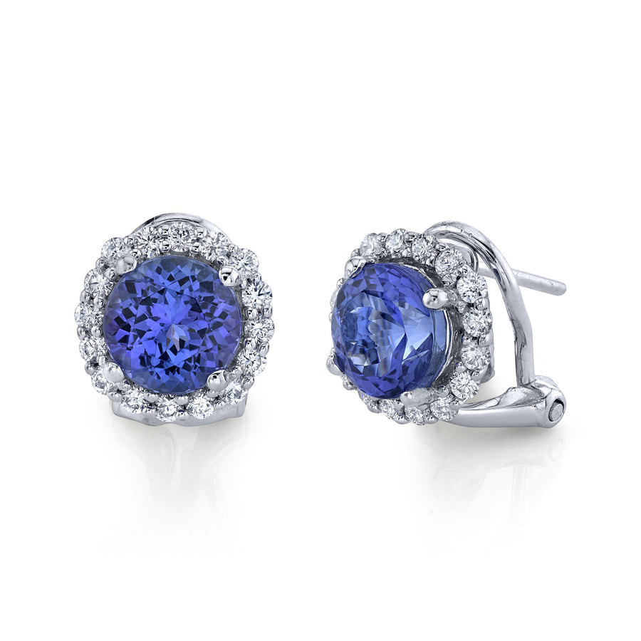 14K 3.40 Cts Tanzanite 0.50 Cttw VS Diamond Earrings - TVON.com