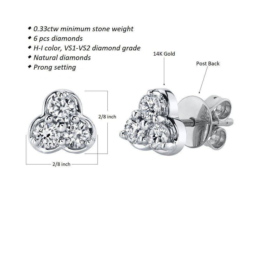 14K 0.33 Cttw VS Diamond Earrings - TVON.com