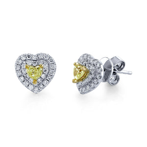 14K 0.32 Cts Yellow Diamond 0.39 Cttw VS Diamond Earrings - TVON.com