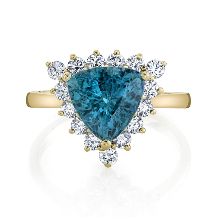 14K 6.48 Cts Blue Zircon 0.80 Cttw VS Diamond Ring - TVON