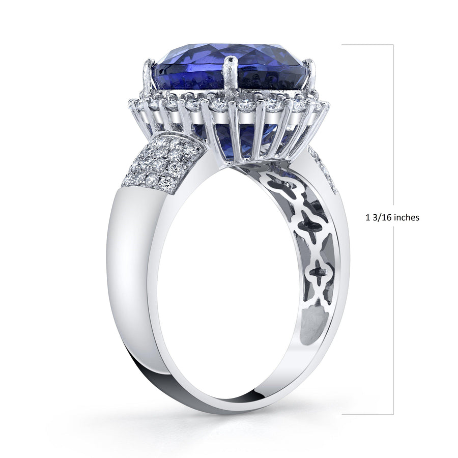 14K 10.74 Cts Tanzanite 0.84 Cttw VS Diamond Ring - TVON.com
