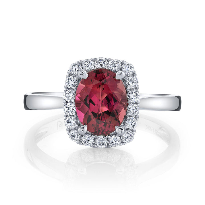 14K 1.90 Cts Congo Pink Tourmaline 0.34 Cttw VS Diamond Ring - TVON