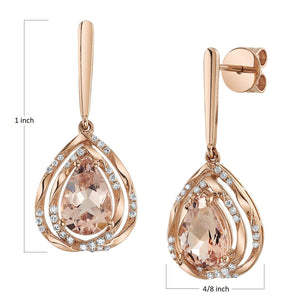 14K 2.16 Cts Morganite 0.18 Cttw VS Diamond Earrings - TVON.com