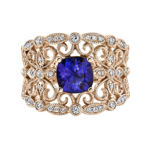 14K 1.43 Cts Tanzanite 0.28 Cttw VS Diamond Ring - TVON.com