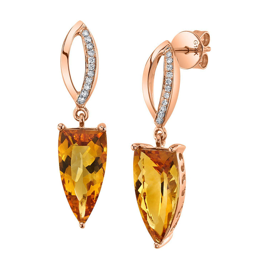 14K 4.60 Cts Citrine 0.08 Cttw VS Diamond Earrings